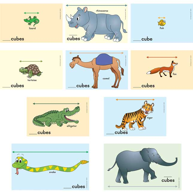 Measuring With Cubes™ - Zoo Animals Cards Set