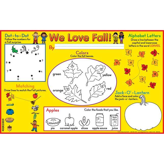 We Love Fall! Activity Mats