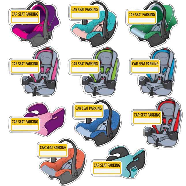 EZ Stick™ Car Seat Parking Labels - 11 signs