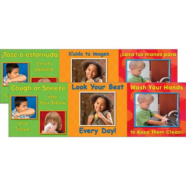 Good Hygiene Mini Posters Set - English/Spanish