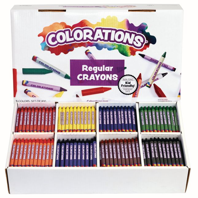 Colorations® Regular Crayons, 8 Colors - Set Of 800
