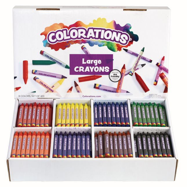 Colorations Large Crayons 8 Colors Set of 400