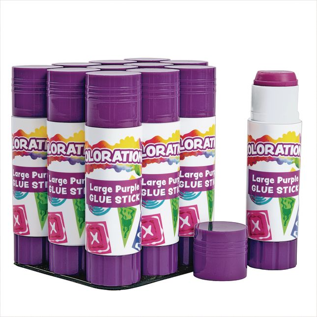 Colorations Best Value Washable Purple Glue Sticks Large  88 oz  Set of 12 in a tray