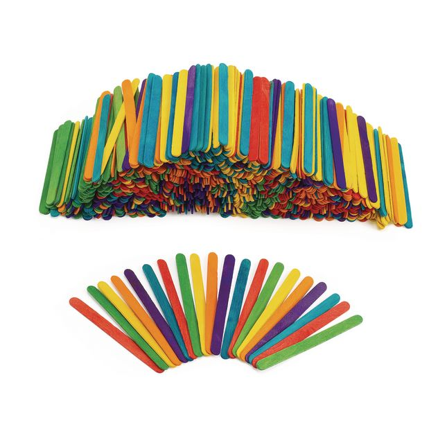 Colorations Colored Wood Craft Sticks 1000 Pieces