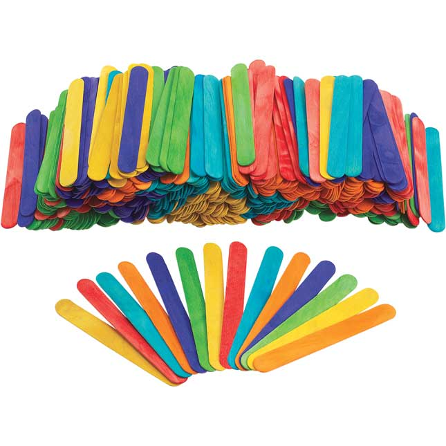 Colorations Large Colored Wood Craft Sticks 500 Pieces