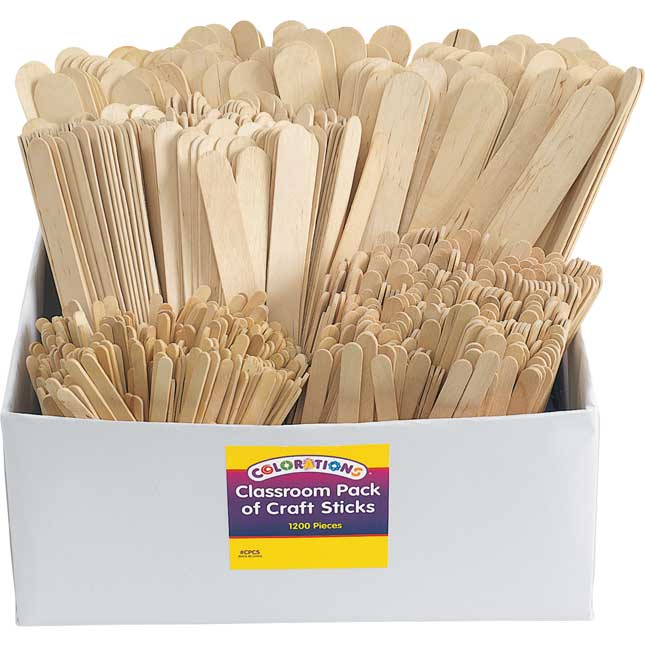 Colorations® Natural Craft Stick Classroom Pack - 1.200 Pieces