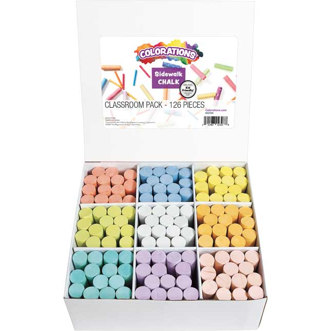 Colorations Sidewalk Chalk Classroom Pack Set of 126