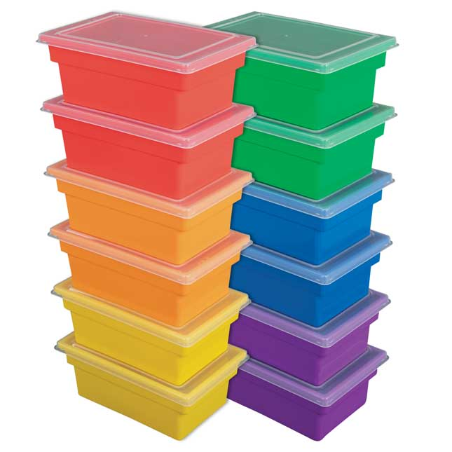 All Purpose Bins And Lids Set Of 12 6 Colors