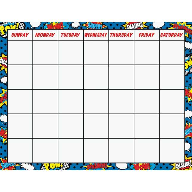Superhero Calendar Chart - 1 chart