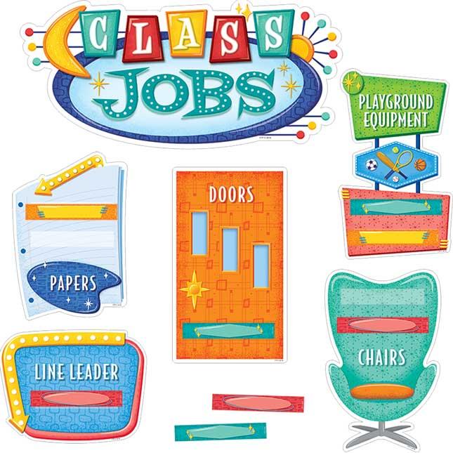 Mid-Century Modern Class Jobs Mini Bulletin Board