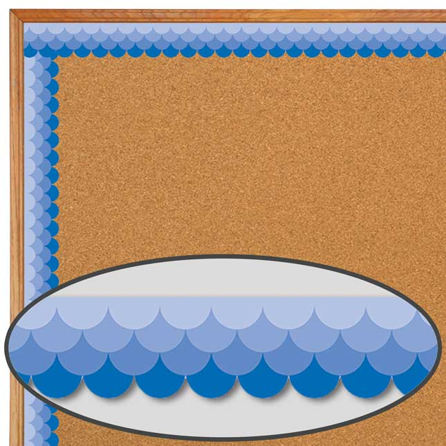 Blue Ombré Scallop Painted Palette Border Trim