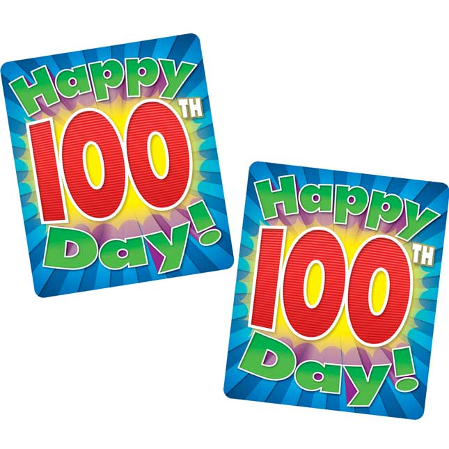 100th Day Motivational Sticker Badges