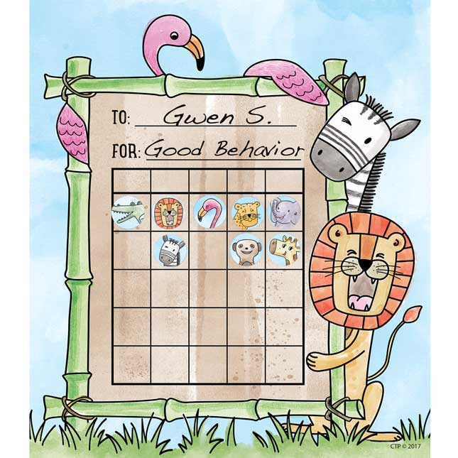 Safari Friends Student Incentive Charts and Hot Spot Stickers