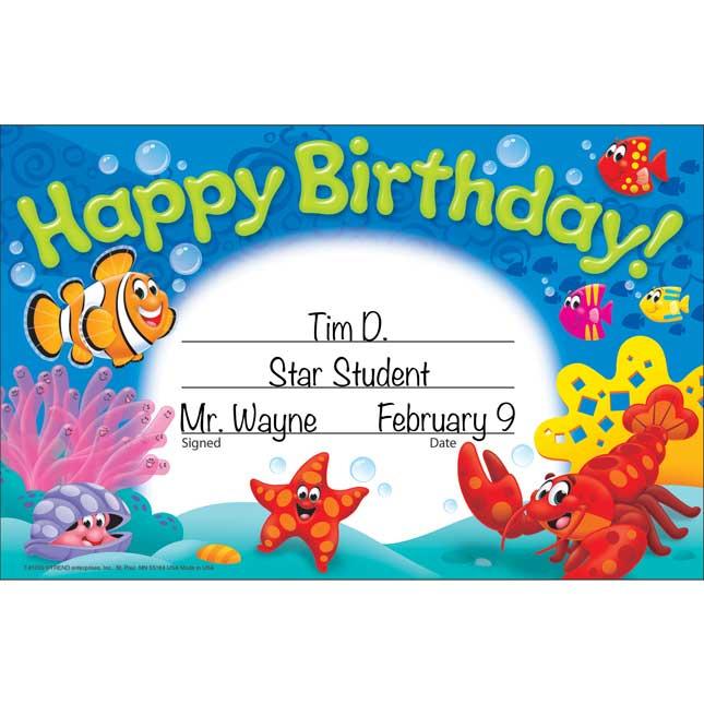 Sea Buddies™ Happy Birthday! Recognition Awards