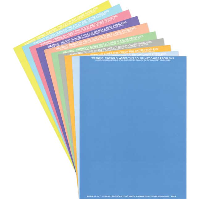 Irlen Colored Overlays - Set Of 10 Assorted Colors