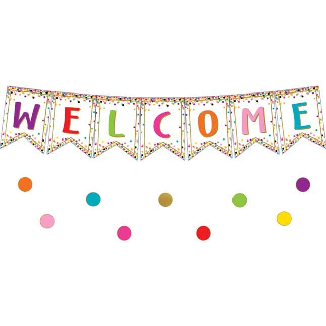 Confetti Pennants Welcome Bulletin Board Set